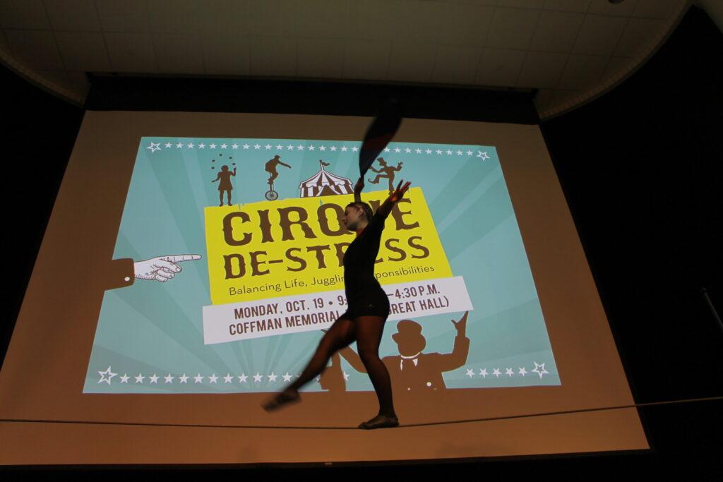 Kira Haid walks the tightwire at Cirque De-Stress
